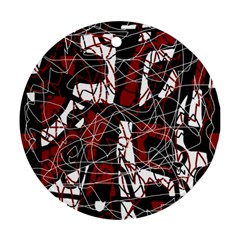 Red black and white abstract high art Round Ornament (Two Sides)
