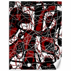 Red black and white abstract high art Canvas 12  x 16