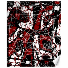 Red black and white abstract high art Canvas 16  x 20