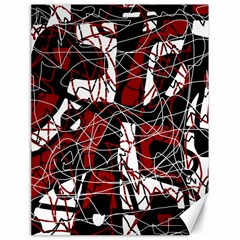 Red black and white abstract high art Canvas 18  x 24