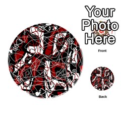 Red black and white abstract high art Playing Cards 54 (Round)