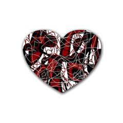Red black and white abstract high art Heart Coaster (4 pack)