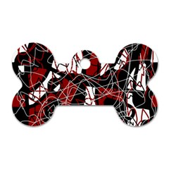 Red black and white abstract high art Dog Tag Bone (Two Sides)