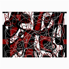Red black and white abstract high art Large Glasses Cloth