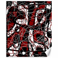 Red black and white abstract high art Canvas 11  x 14