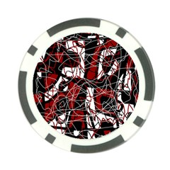 Red black and white abstract high art Poker Chip Card Guards