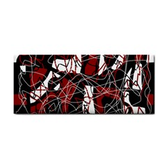 Red Black And White Abstract High Art Hand Towel