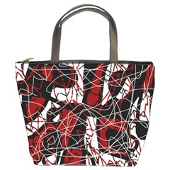 Red black and white abstract high art Bucket Bags