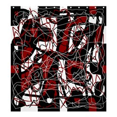 Red black and white abstract high art Shower Curtain 66  x 72  (Large)
