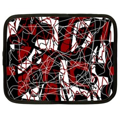 Red black and white abstract high art Netbook Case (XL)
