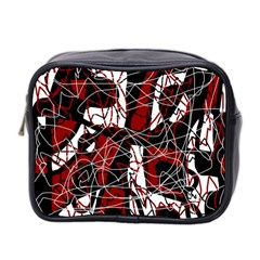 Red black and white abstract high art Mini Toiletries Bag 2-Side