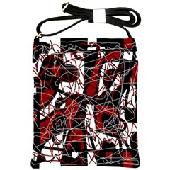 Red black and white abstract high art Shoulder Sling Bags