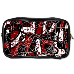 Red black and white abstract high art Toiletries Bags
