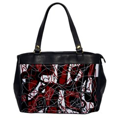Red black and white abstract high art Office Handbags