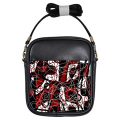 Red black and white abstract high art Girls Sling Bags