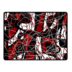 Red black and white abstract high art Fleece Blanket (Small)