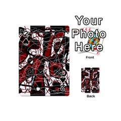 Red black and white abstract high art Playing Cards 54 (Mini)