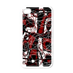 Red black and white abstract high art Apple iPhone 4 Case (White)