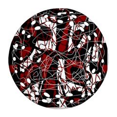 Red black and white abstract high art Ornament (Round Filigree)