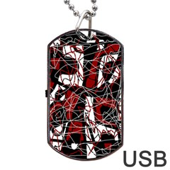 Red black and white abstract high art Dog Tag USB Flash (One Side)