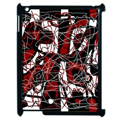 Red black and white abstract high art Apple iPad 2 Case (Black)