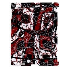 Red black and white abstract high art Apple iPad 3/4 Hardshell Case (Compatible with Smart Cover)