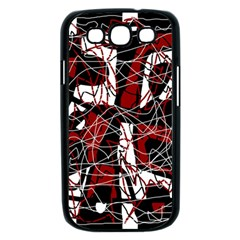 Red black and white abstract high art Samsung Galaxy S III Case (Black)