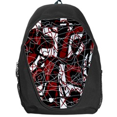 Red black and white abstract high art Backpack Bag