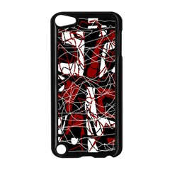 Red black and white abstract high art Apple iPod Touch 5 Case (Black)
