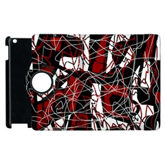 Red black and white abstract high art Apple iPad 2 Flip 360 Case