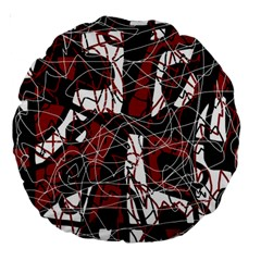 Red black and white abstract high art Large 18  Premium Round Cushions