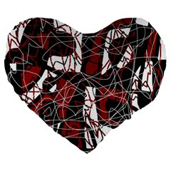 Red black and white abstract high art Large 19  Premium Heart Shape Cushions