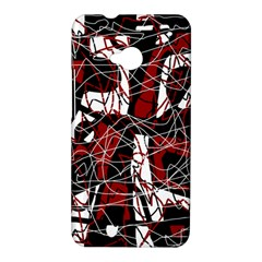 Red black and white abstract high art HTC One M7 Hardshell Case