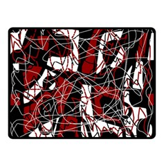 Red black and white abstract high art Double Sided Fleece Blanket (Small)