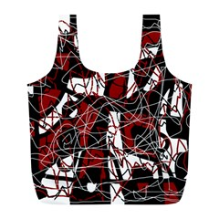 Red black and white abstract high art Full Print Recycle Bags (L)
