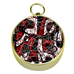 Red black and white abstract high art Gold Compasses