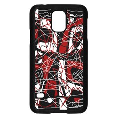 Red black and white abstract high art Samsung Galaxy S5 Case (Black)