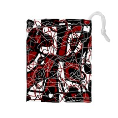 Red black and white abstract high art Drawstring Pouches (Large)