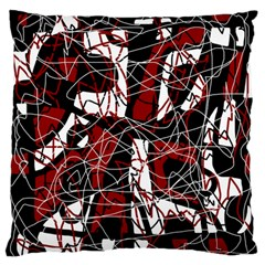 Red black and white abstract high art Large Flano Cushion Case (One Side)