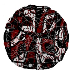 Red black and white abstract high art Large 18  Premium Flano Round Cushions