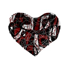 Red black and white abstract high art Standard 16  Premium Flano Heart Shape Cushions