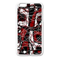 Red black and white abstract high art Apple iPhone 6 Plus/6S Plus Enamel White Case