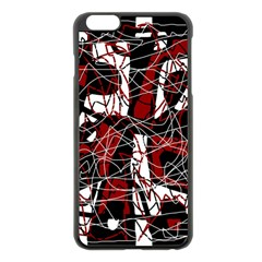 Red black and white abstract high art Apple iPhone 6 Plus/6S Plus Black Enamel Case