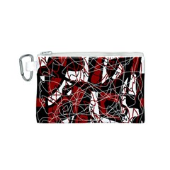 Red black and white abstract high art Canvas Cosmetic Bag (S)
