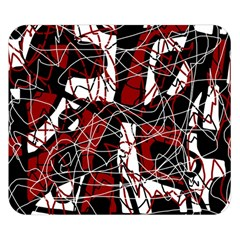 Red black and white abstract high art Double Sided Flano Blanket (Small)