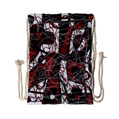 Red black and white abstract high art Drawstring Bag (Small)