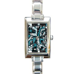 Blue, black and white abstract art Rectangle Italian Charm Watch