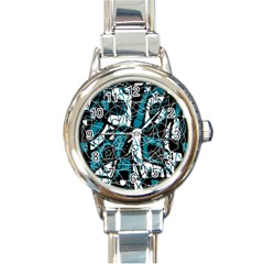Blue, black and white abstract art Round Italian Charm Watch