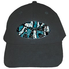 Blue, black and white abstract art Black Cap