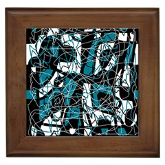 Blue, black and white abstract art Framed Tiles